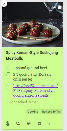 google keep example recipe